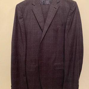 Navy Plaid Joseph Abboud 2 Piece Suit 40L